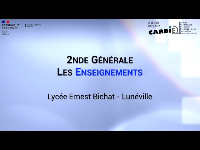 Lycée Ernest Bichat à Lunéville - Les enseignements