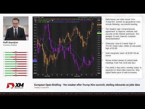 Forex News: 12/06/2018 - Yen weaker after Trump-Kim summit; sterling rebounds on jobs data