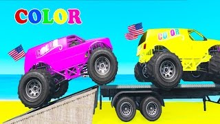 Learn Colors w Monster Truck Transportation Spiderman Cartoon for Kids w Nursery Rhymes for children
