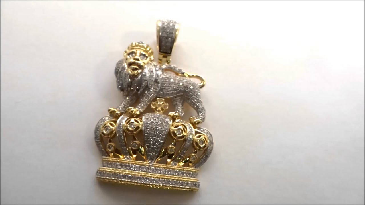 10k yg lion crown king pendant diamond highline for Highline custom jewelry ig
