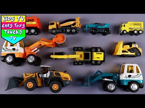 Learn Construction Vehicles For Kids Children Babies Toddlers | Road Roller Excavator Bulldozer