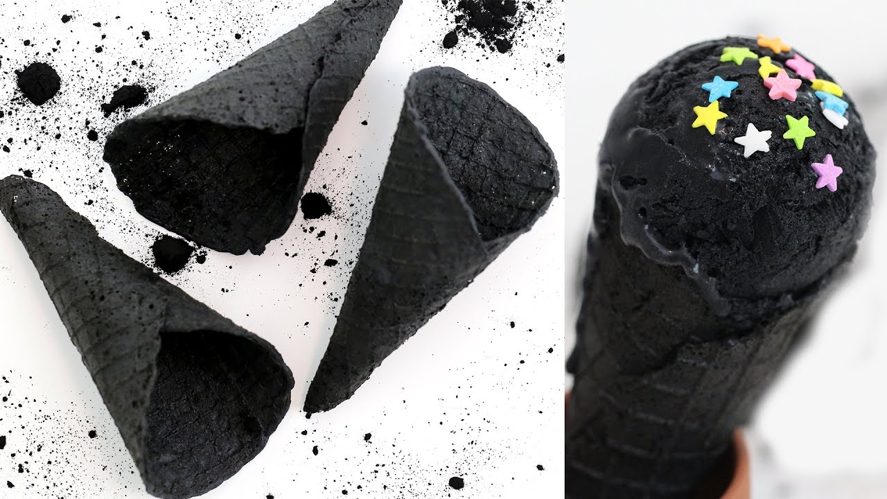 black charcoal ice cream cones