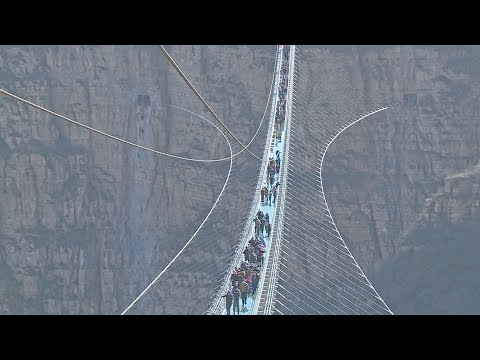 World's longest glass-bottom bridge opens in north China
