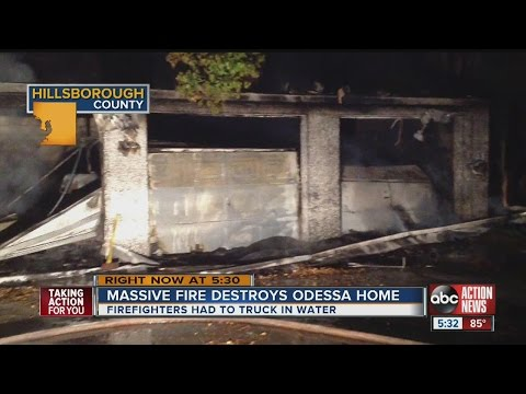 Odessa home destroyed in fire, no close hydrants to fight fire