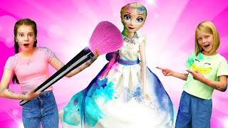 Игры одевалки с Эльза Холодное Сердце - Новый образ для Принцессы Диснея! – Видео куклы Барби