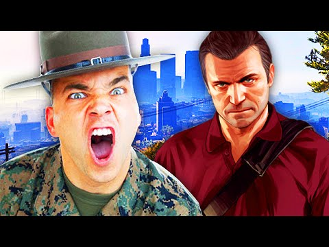 CRAZY DRILL SERGEANT PLAYS GRAND THEFT AUTO 5! (Hilarious VOICE Trolling)