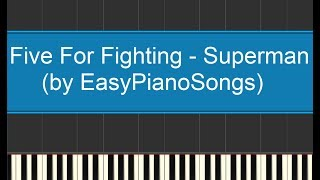 Superman (Five for Fighting) - easy piano cover synthesia + DOWNLOAD midi and sheet