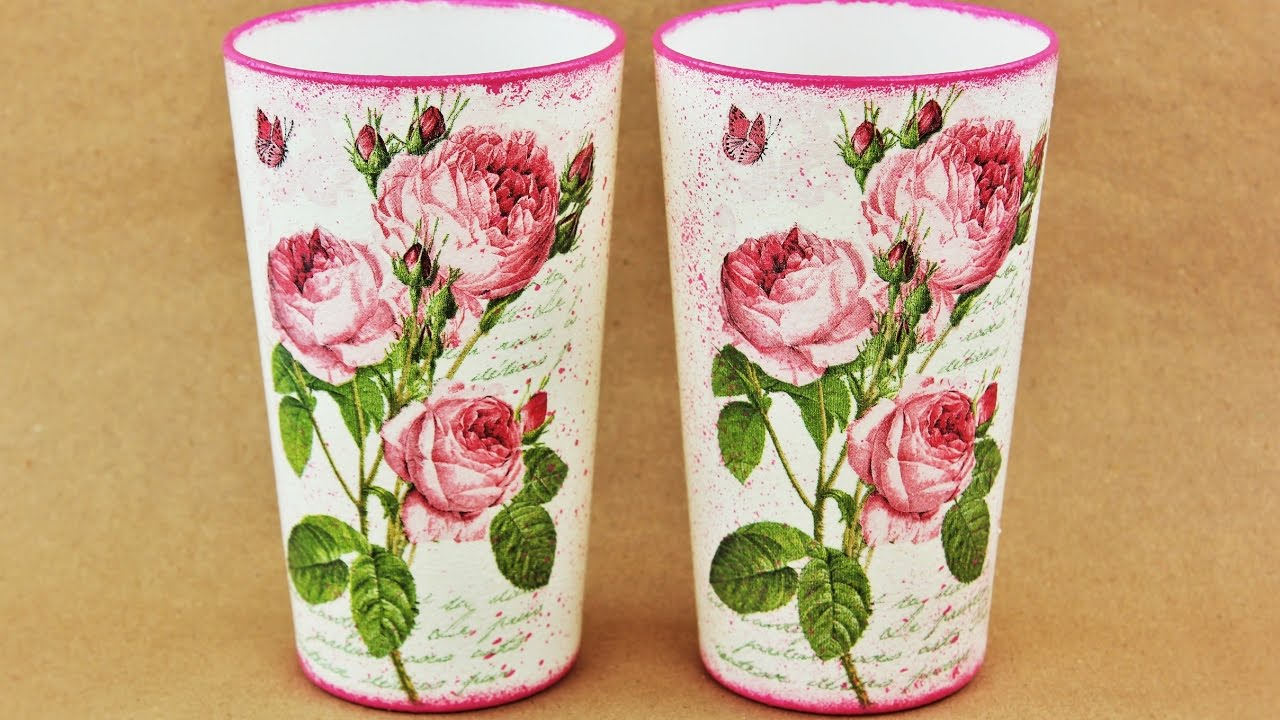 Decoupage glass , painted glasses diy , decoupage on glass tutorial ,  Decoupage for beginners