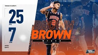 Auburn's Bryce Brown scores 25 points to knock off Kansas in the second round