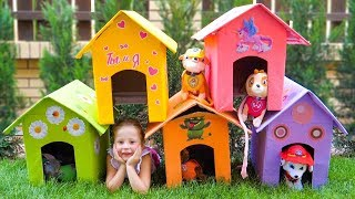 Nastya and papa makes a new houses for toys dogs