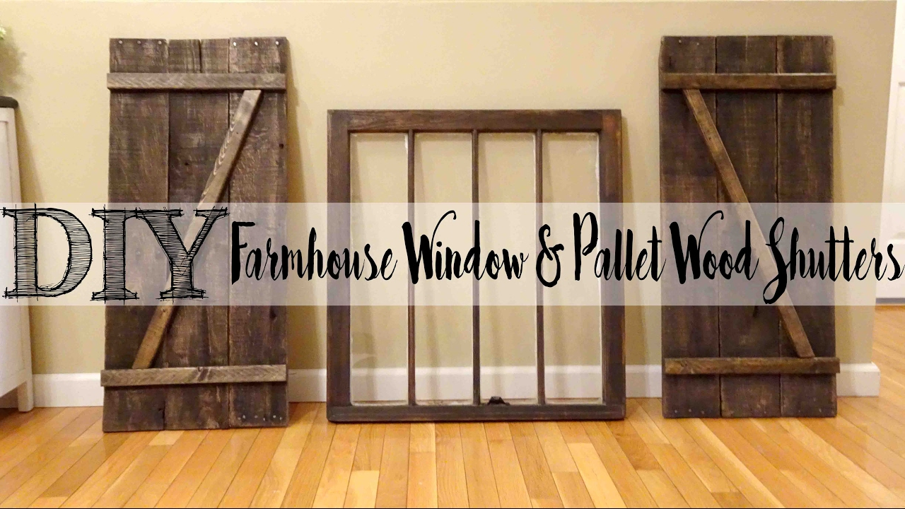 Diy pallet wood shutters with matching farmhouse window youtube How to make exterior shutters