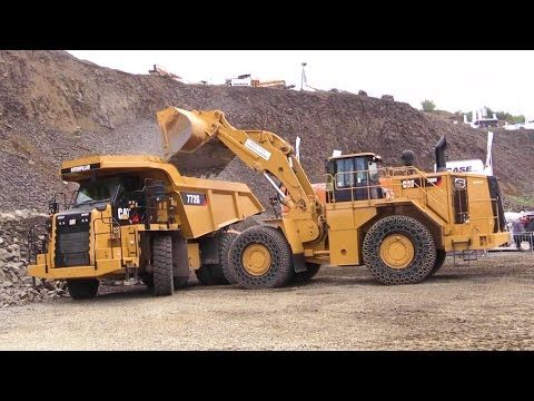 Caterpillar Demo Show: 988K Wheelloader, Cat 374F Excavator And 772G Mining Truck @ Steinexpo 2014