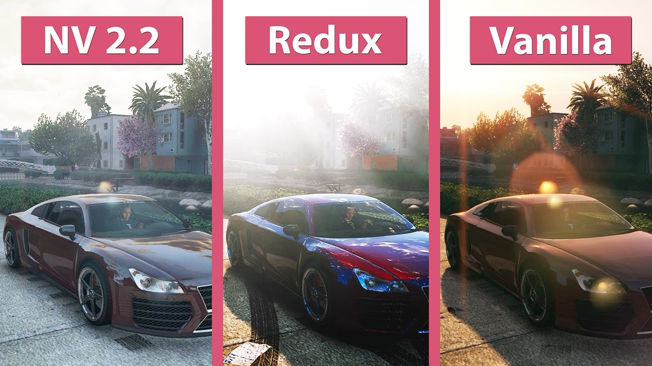GTA 5 – NaturalVision 2 2 vs  Redux vs  Vanilla Visual Graphics Mod  Comparison
