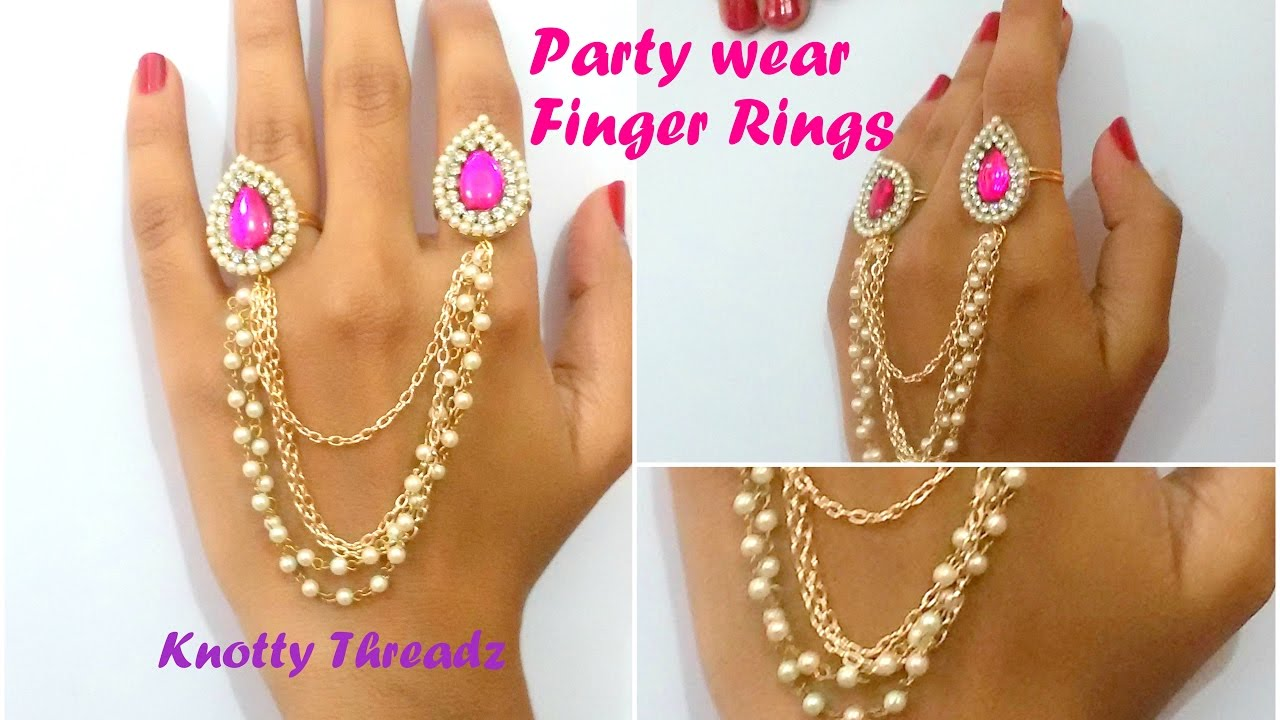Finger Rings | Trendy 2 Fingers Designer Ring with Chain | Party ...