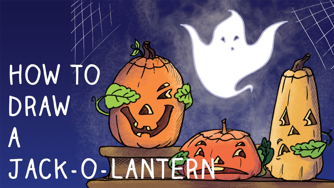 How to Draw Halloween Jack-O-Lanterns, Step by Step, Narrated - YouTube