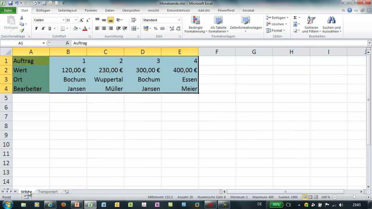 Excel Mtrans Zum Transponieren Von Listen Arrayfunktion Youtube