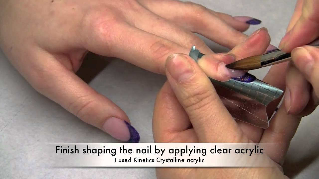 How to extend natural nail bed using cover pink acrylic. - YouTube