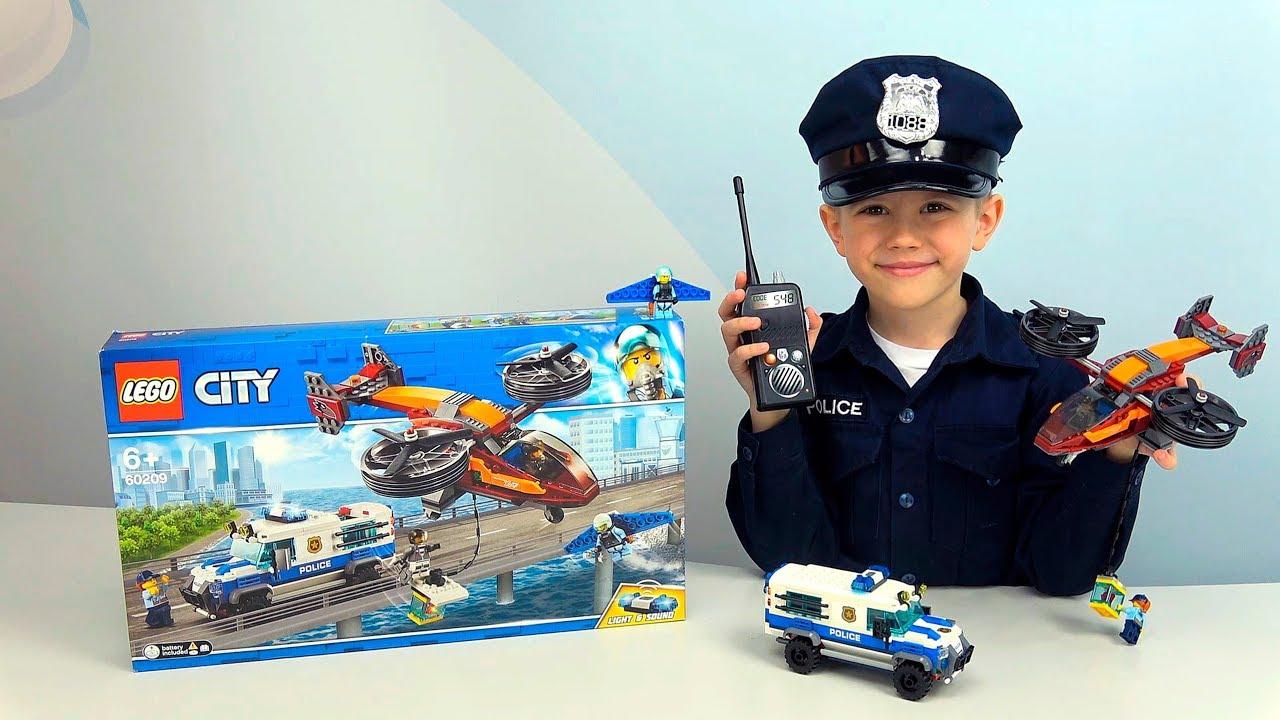ПОЛИЦИЯ Лего Сити 60209 Бандитский вертолёт и ИНКАССАТОРСКАЯ Полицейская машина