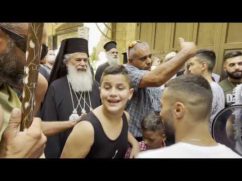 Отдание праздника Успения Пресвятой Богородицы.Крестный ход с плащаницей Божией Матери.Иерусалим.