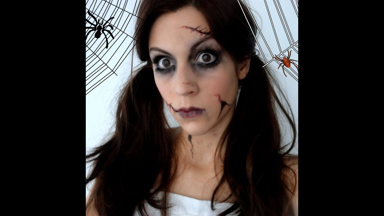 Maquillage d 39 halloween poup e d moniaque youtube - Deguisement horreur femme ...