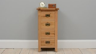 Vancouver Oak 4 Drawer Tall Chest - Pinesolutions