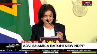 Newly appointed NPA boss Advocate Shamila Batohi addresses the media