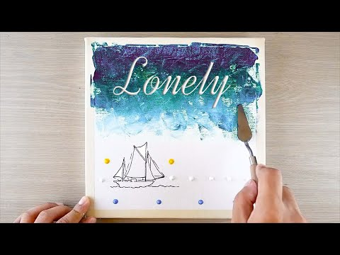 Acrylic Painting #008 Moonlight Night Sky And Sunset With A Lonely Ship / Easy Painting Tutorial