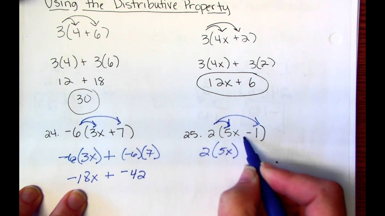 worksheet Distributive Property 7th Grade Worksheets 7th grade distributive property youtube property