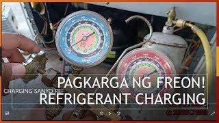 Recharging a refrigerant on your refrigerator, Sanyo Two door, tagalog/ Pagkarga ng Freon
