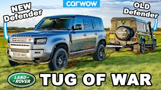 New vs Old Land Rover Defender - TUG OF WAR