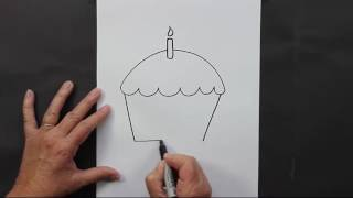 How To Draw A Cup Cake For Kids