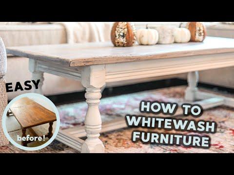 How to Whitewash & Distress Furniture: DIY Farmhouse Coffee Table (easy & budget-friendly)