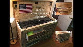 This pallet wood dresser has a secret gun compartment that is unlocked by pressing in one of the slats on the side of the dresser.
