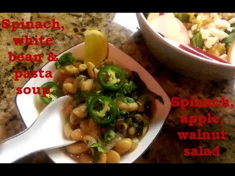Spinach white bean pasta