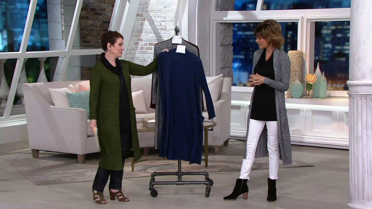 Lisa Rinna Collection Open Front Duster Cardigan with Pockets on ...