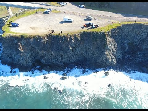 Drone video of the cliff where Hart family crashed into the ocean