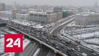 Снегопад и гололед устроили в Москве множество аварий - Россия 24