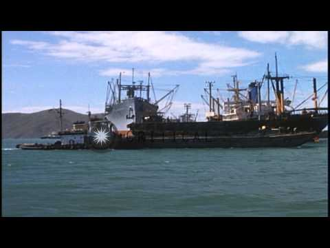 A barge-mounted crane lifts Land Craft Mechanized onto barge in Vietnam. HD Stock Footage
