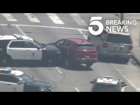 LAPD Cruiser Rams Stolen Vehicle in South L.A. Pursuit