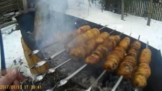 Картошка на мангале  с салом , рецепт на шампурах