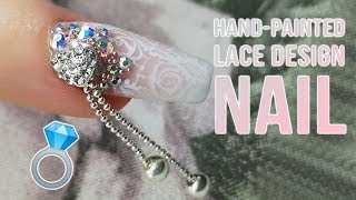 Hand-painted Lace Design Inspired by Wedding Dress - Wedding Nails Part 3