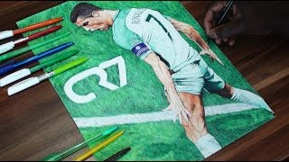 Cristiano Ronaldo Pen Drawing - Portugal - DeMoose Art