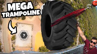 Tractor Tire Vs. World's Strongest Trampoline from 45m!
