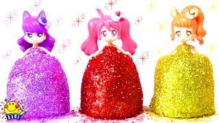 プリキュアアラモード★キラキラドレスに変身!着せ替え 衣装★アンパンマン ねんど おもちゃ ダンボール DIY How Make Glitter Play Doh Dresses たまごMammy