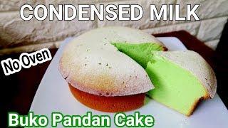 Condensed Milk Buko Pandan Cake Without Oven l How to make Condensed Milk Buko Pandan Cake