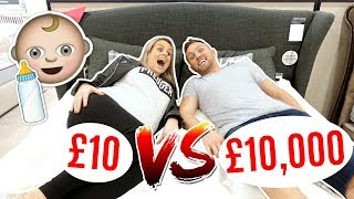 £10 BED vs £10,000 BED SHOPPiNG FOR PREGNANT MUM!