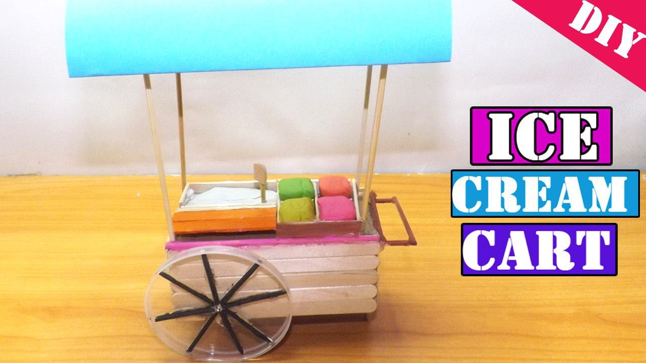 Miniature ice cream cart popsicle stick craft easy for How to make popsicle stick crafts