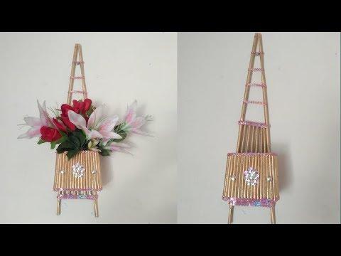 how to make unique wall hanging flower basket from newspaper tubes /diy antique flower basket 2019