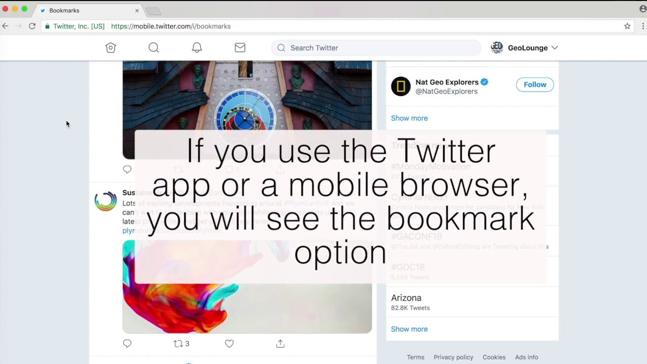 How to view and create Twitter Bookmarks from a desktop browser