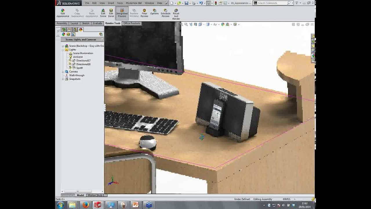 SolidWorks PhotoView 360  Lights Cameras and Scenes  YouTube